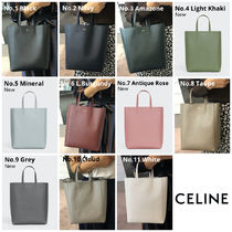 CELINE Cabas Calfskin 2WAY Plain Crossbody Logo Handbags