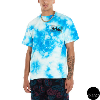 Crew Neck Unisex Street Style Tie-dye Cotton Short Sleeves