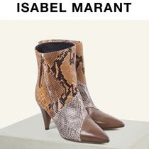 Isabel Marant Leather Python Ankle & Booties Boots