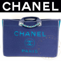 CHANEL DEAUVILLE Casual Style Blended Fabrics Street Style A4 2WAY Chain