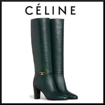 CELINE Plain Leather Elegant Style Chunky Heels High Heel Boots