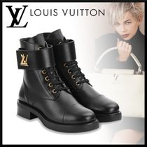 Louis Vuitton Monogram Platform Round Toe Rubber Sole Casual Style