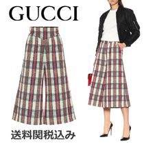 GUCCI Other Check Patterns Wool Blended Fabrics Cotton