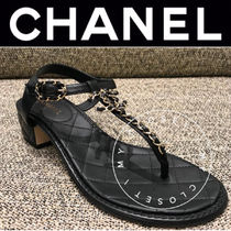 CHANEL MATELASSE Open Toe Casual Style Street Style Chain Plain Leather