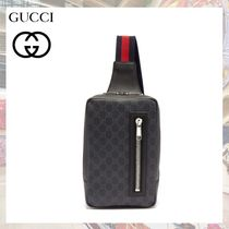 GUCCI GG Supreme Stripes Street Style 2WAY Leather Hip Packs