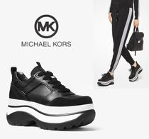Michael Kors Platform Round Toe Rubber Sole Lace-up Casual Style Enamel