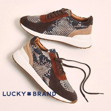 Plain Toe Rubber Sole Casual Style Suede Python