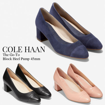 Cole Haan Suede Plain Leather Block Heels Office Style