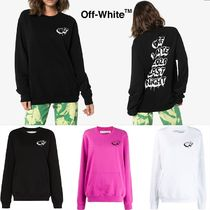 Off-White Heart Sweat Street Style Long Sleeves Cotton Logo