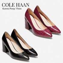 Cole Haan Plain Other Animal Patterns Leather Block Heels Office Style