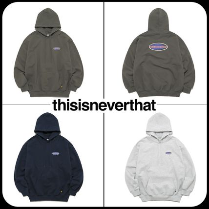 thisisneverthat Hoodies Unisex Street Style Long Sleeves Oversized Logo Hoodies