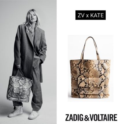 Casual Style Collaboration Leather Python Totes