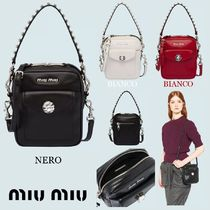 MiuMiu Casual Style Calfskin 2WAY Plain With Jewels Crossbody Logo
