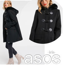 ASOS Casual Style Faux Fur Plain Medium Duffle Coats