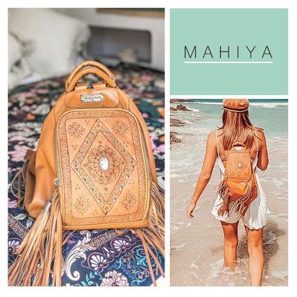 Casual Style Studded 2WAY Leather Handmade Fringes Backpacks