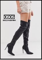 ASOS Casual Style Faux Fur Plain Pin Heels Over-the-Knee Boots