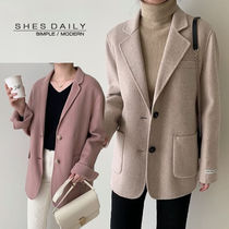 Casual Style Wool Plain Medium Peacoats