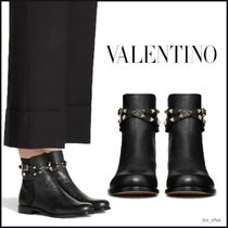 VALENTINO Blended Fabrics Studded Plain Leather Ankle & Booties Boots