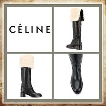 CELINE Round Toe Casual Style Plain Leather High Heel Boots