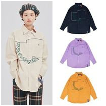 ROMANTIC CROWN Casual Style Unisex Corduroy Street Style Long Sleeves
