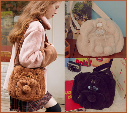 Casual Style Street Style 2WAY Plain Logo Shoulder Bags