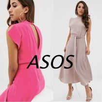 ASOS Sleeveless Flared Plain Medium High-Neck Midi Elegant Style