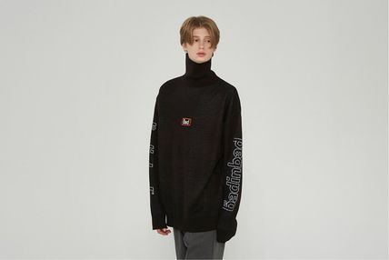 Street Style Long Sleeves Oversized Logo Sweaters