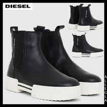 DIESEL Rubber Sole Chelsea Boots Chunky Heels Ankle & Booties Boots