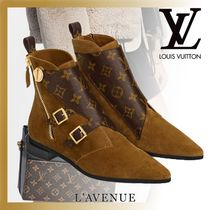 Louis Vuitton MONOGRAM Monogram Rubber Sole Casual Style Suede Blended Fabrics