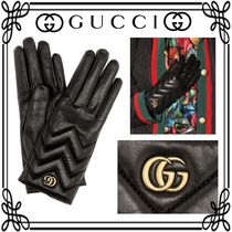 GUCCI Monogram Leather Leather & Faux Leather Gloves