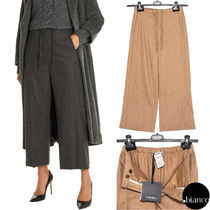 S Max Mara Plain Long Elegant Style Cropped & Capris Pants