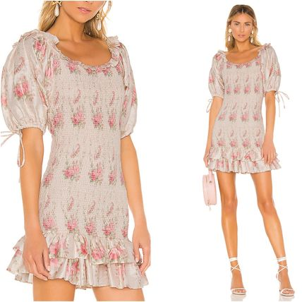 Short Flower Patterns Silk U-Neck Short Sleeves Dresses