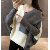 Casual Style Rib Dolman Sleeves Puffed Sleeves V-Neck