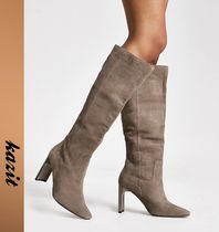 River Island Casual Style Suede Block Heels Over-the-Knee Boots