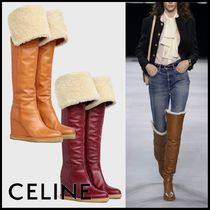 CELINE Casual Style Plain Shearling Over-the-Knee Boots