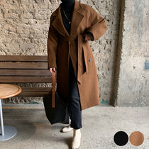 Stand Collar Coats Casual Style Wool Plain Long Office Style