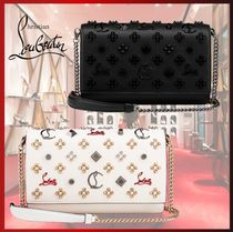 Christian Louboutin Paloma Monogram Calfskin Blended Fabrics Studded Chain Party Style