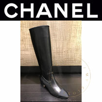 CHANEL ICON Casual Style Street Style Plain Leather Block Heels Handmade