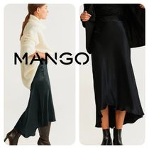 MANGO Flared Skirts Plain Medium Elegant Style Midi Skirts