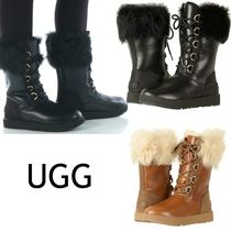 UGG Australia Lace-up Casual Style Sheepskin Plain Leather Lace-up Boots
