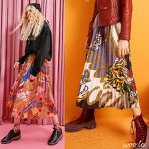 ELF SACK Casual Style Pleated Skirts Street Style Medium Midi