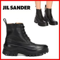 Jil Sander Round Toe Plain Leather Elegant Style Ankle & Booties Boots