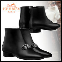 HERMES Casual Style Blended Fabrics Plain Leather Block Heels