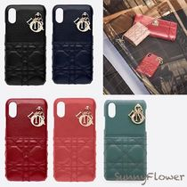 Christian Dior LADY DIOR Blended Fabrics Leather iPhone X iPhone XS Logo