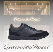 Gianvito Rossi Blended Fabrics Plain Leather Sneakers