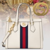GUCCI Ophidia Stripes 2WAY Plain Leather Elegant Style Totes