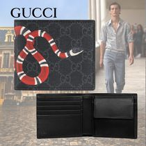 GUCCI GG Supreme Monogram Other Animal Patterns Leather Folding Wallets
