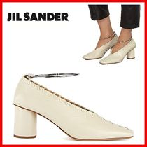 Jil Sander Square Toe Plain Leather Elegant Style