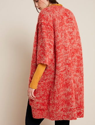 Casual Style Wool Long Sleeves Plain Oversized Cardigans