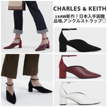 Charles&Keith Square Toe Faux Fur Blended Fabrics Plain Block Heels